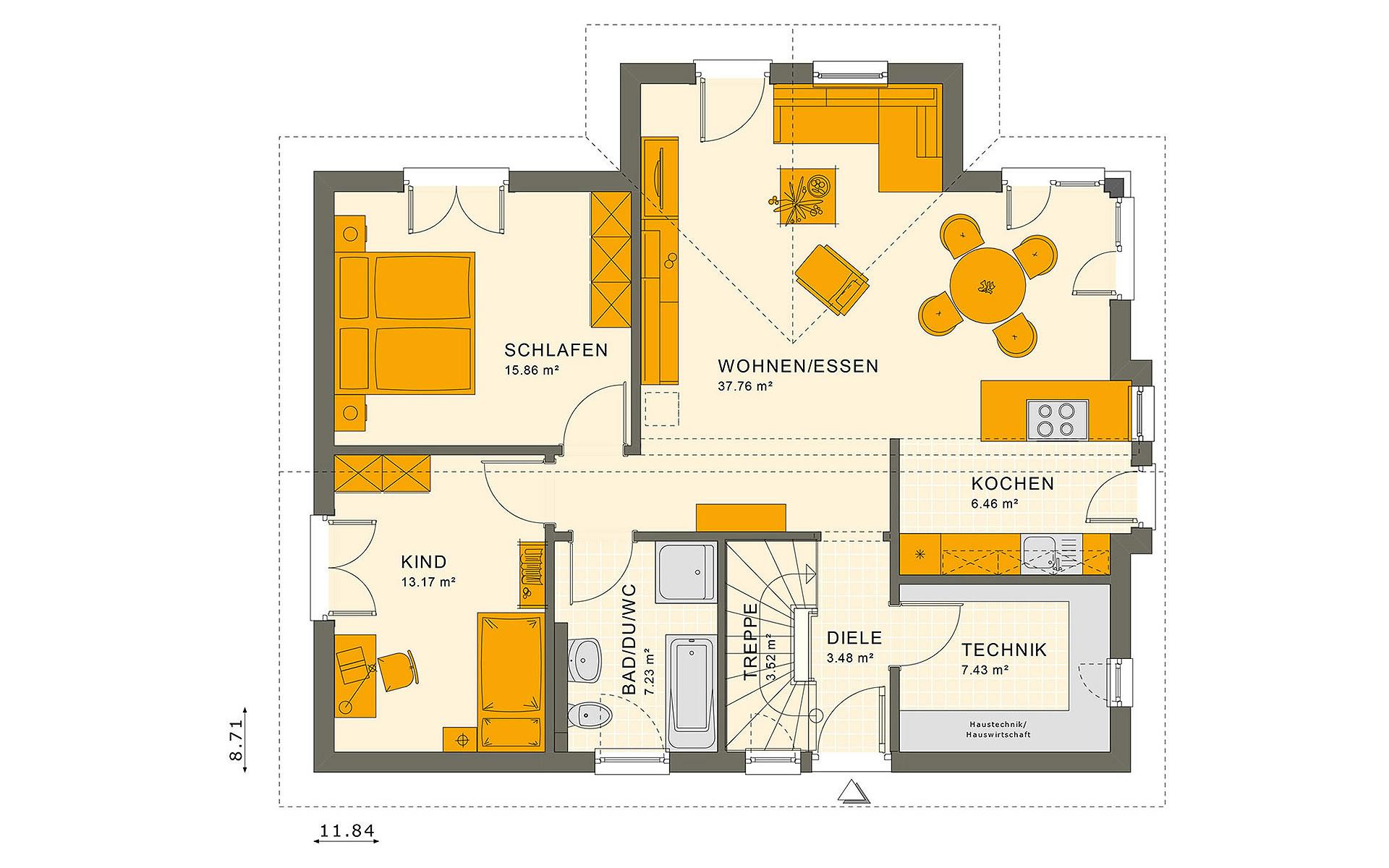 Erdgeschoss SOLUTION 87 V2 von Living Fertighaus GmbH