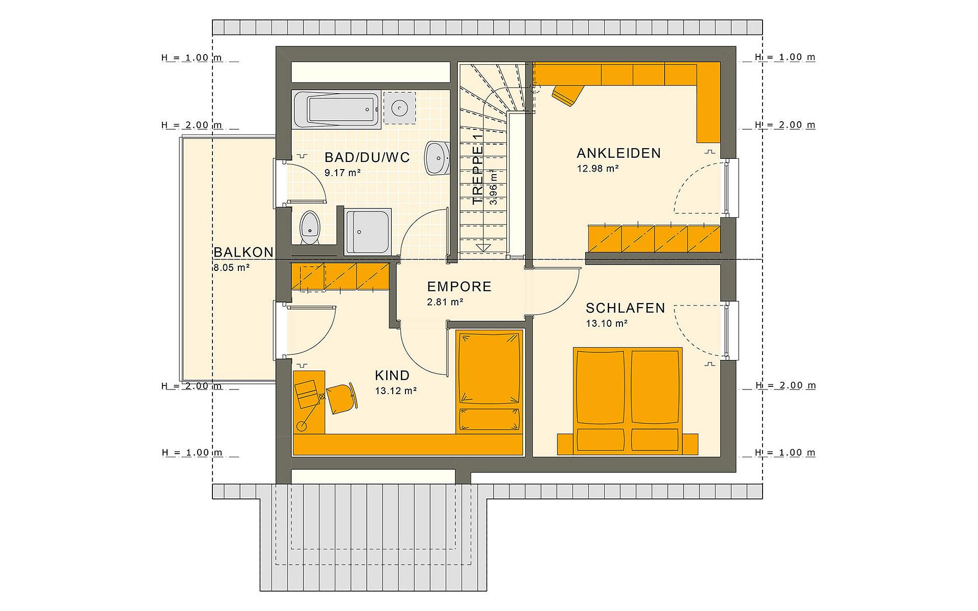 Dachgeschoss SUNSHINE 113 V2 von Living Fertighaus GmbH
