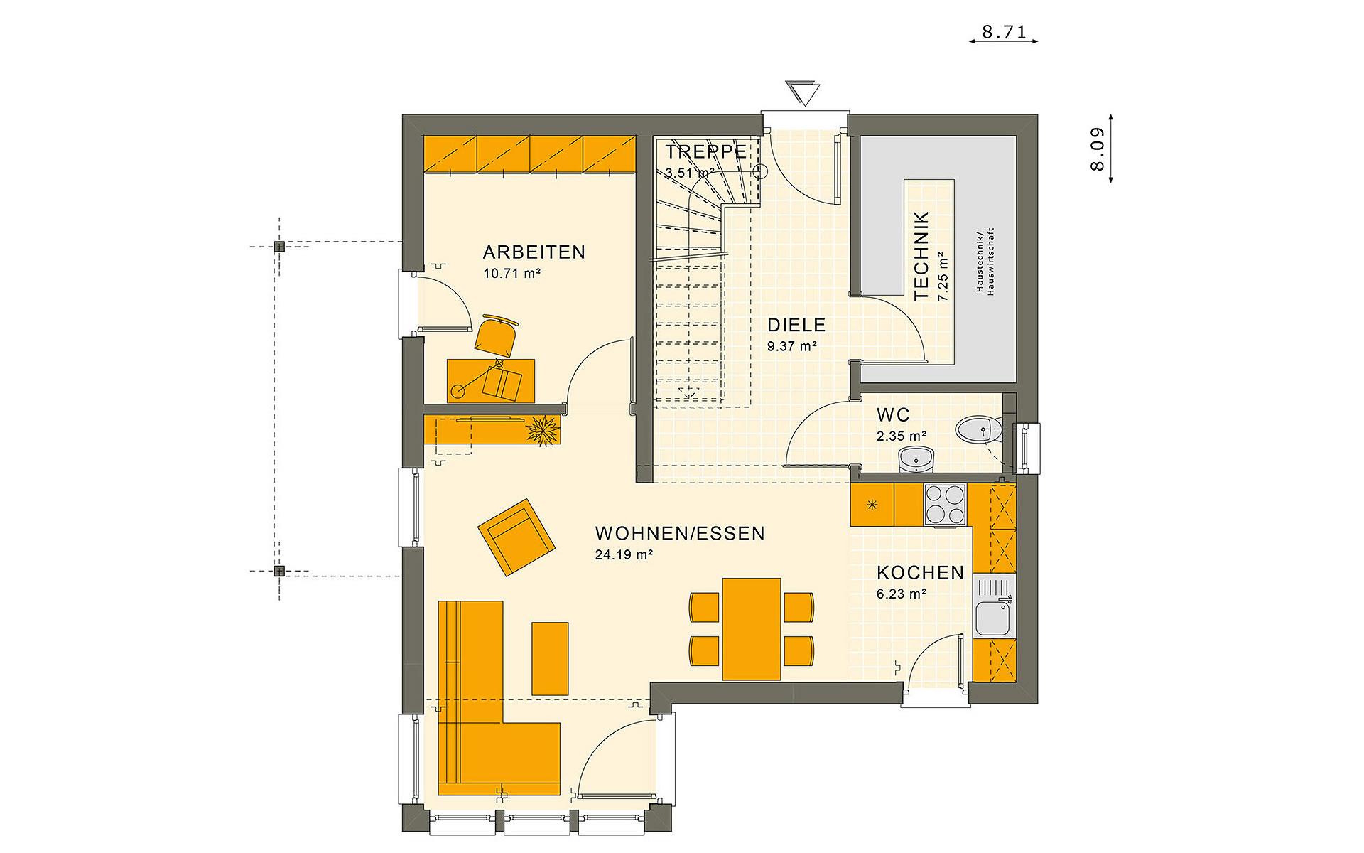 Erdgeschoss SUNSHINE 113 V2 von Living Fertighaus GmbH