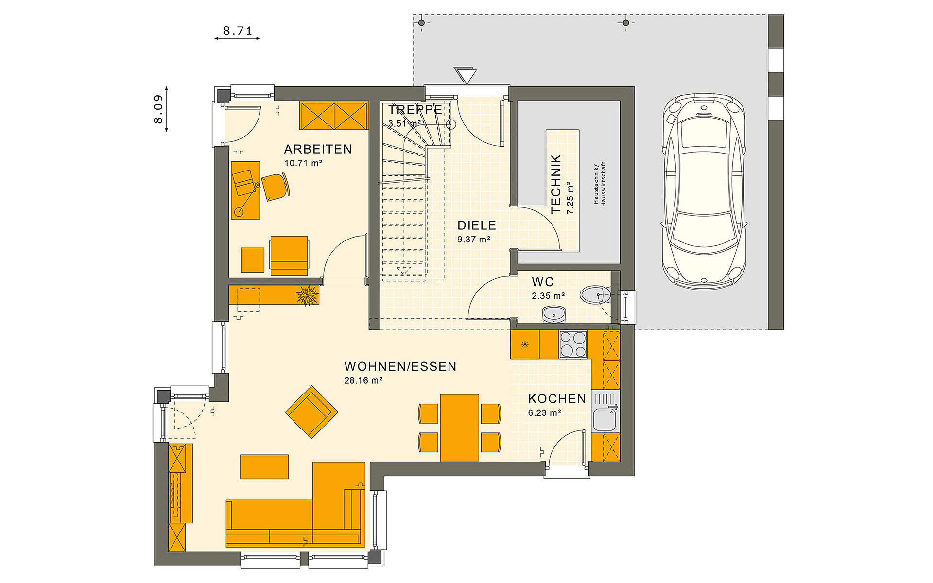 Erdgeschoss SUNSHINE 113 V7 von Living Fertighaus GmbH