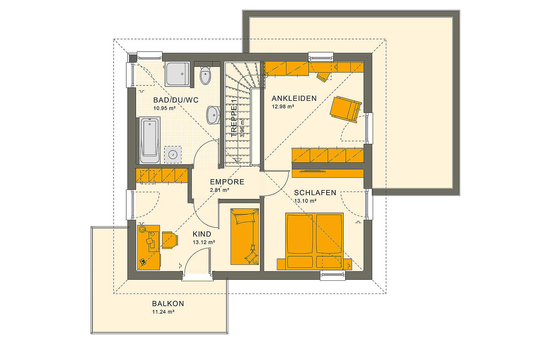 Obergeschoss SUNSHINE 113 V7 von Living Fertighaus GmbH
