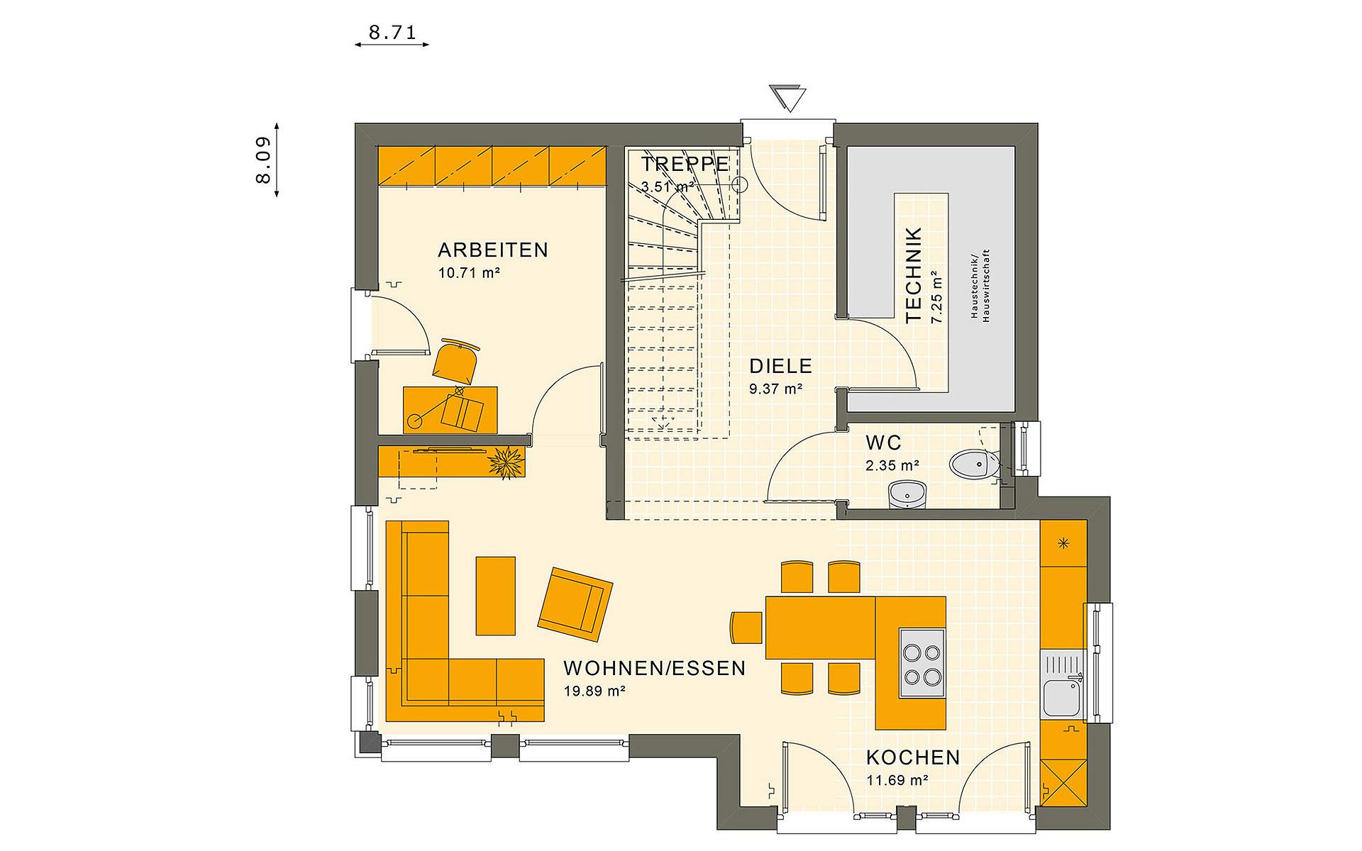 Erdgeschoss SUNSHINE 113 V8 von Living Fertighaus GmbH