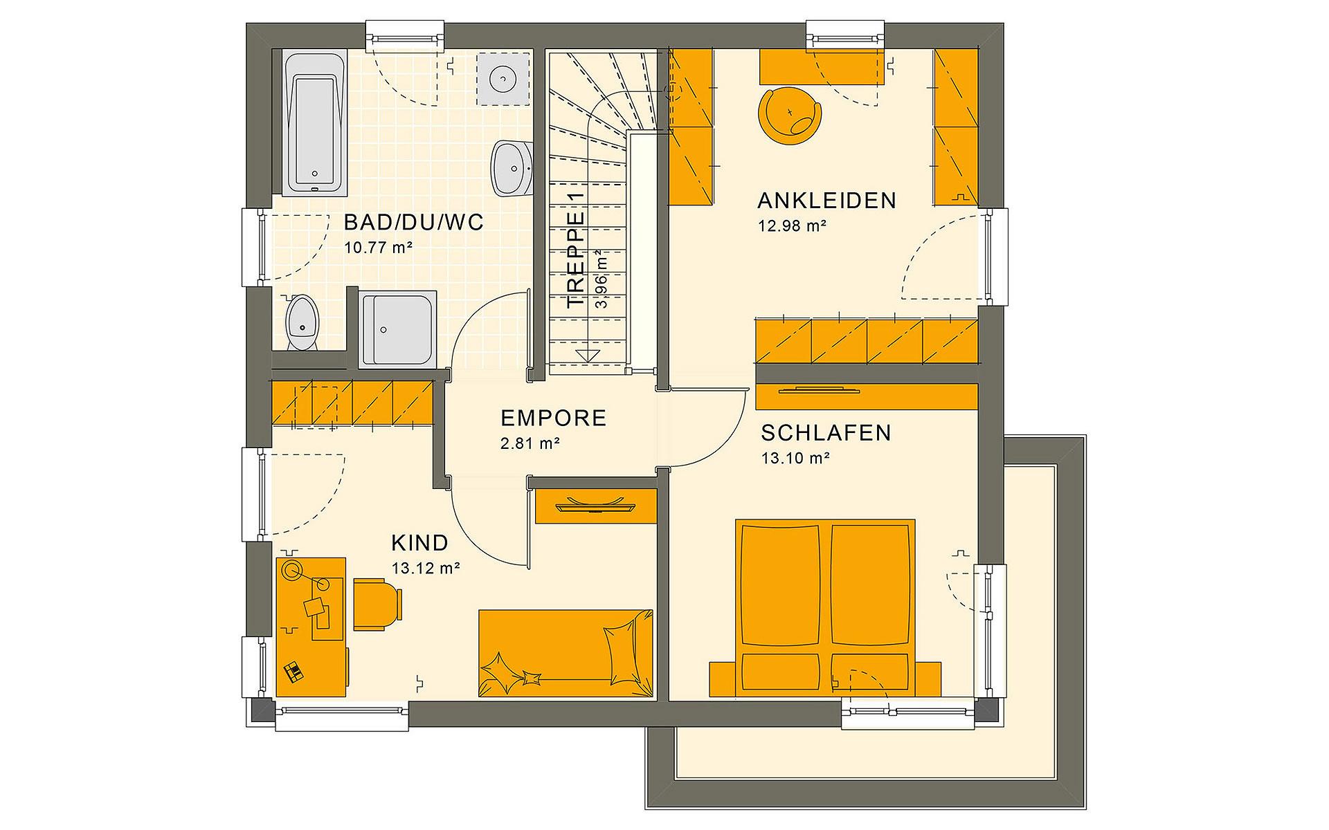 Obergeschoss SUNSHINE 113 V8 von Living Fertighaus GmbH