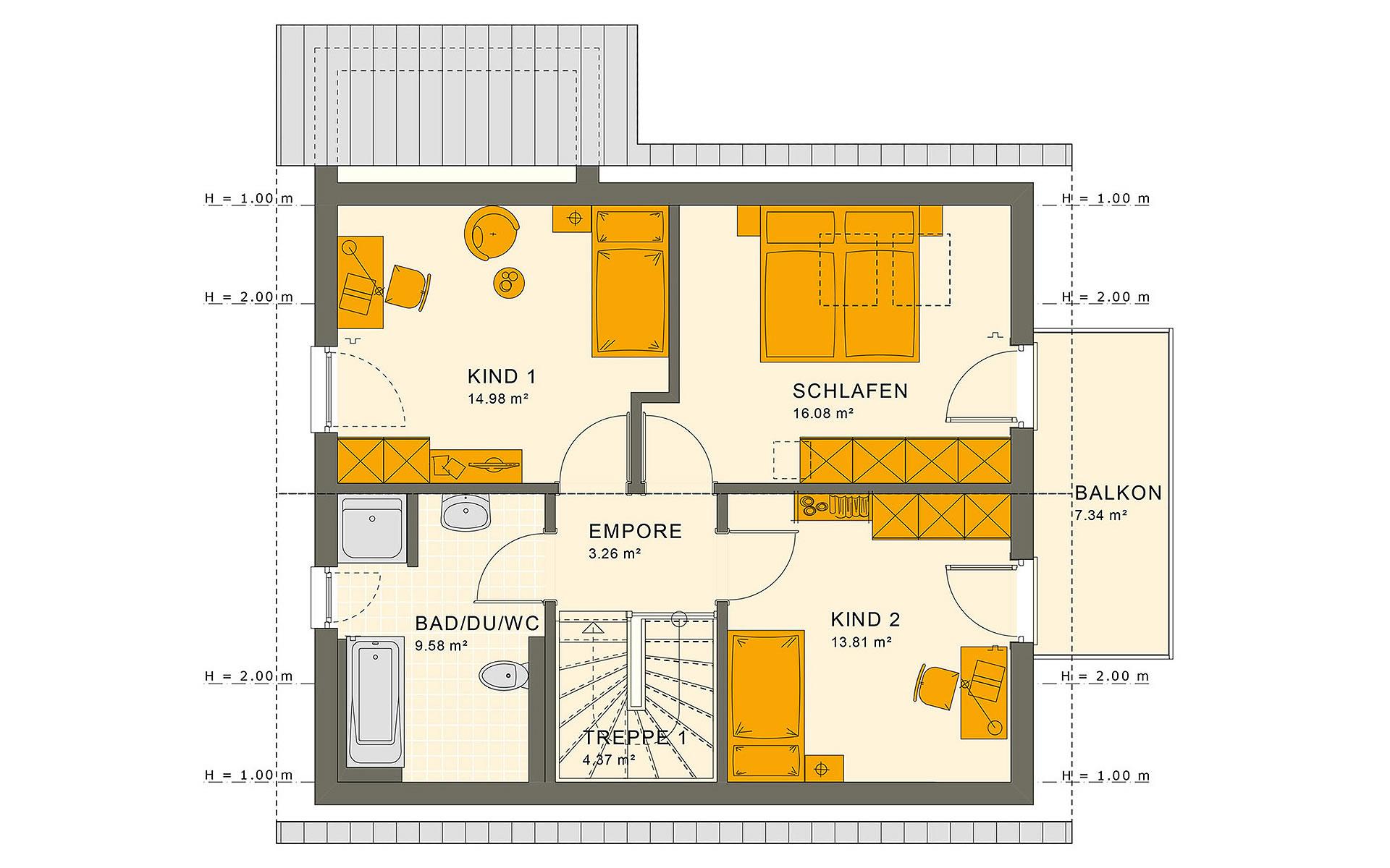 Dachgeschoss SUNSHINE 125 V2 von Living Fertighaus GmbH