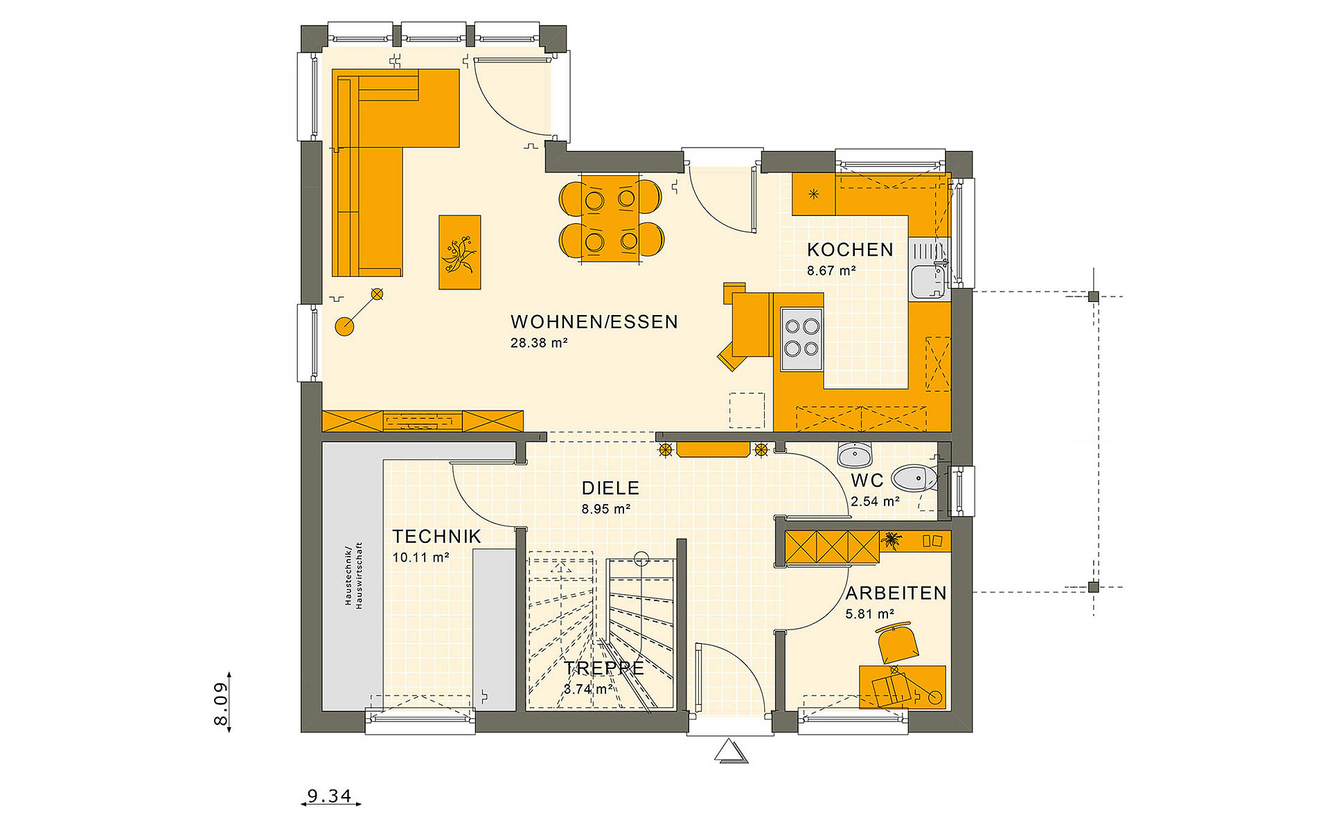 Erdgeschoss SUNSHINE 125 V2 von Living Fertighaus GmbH