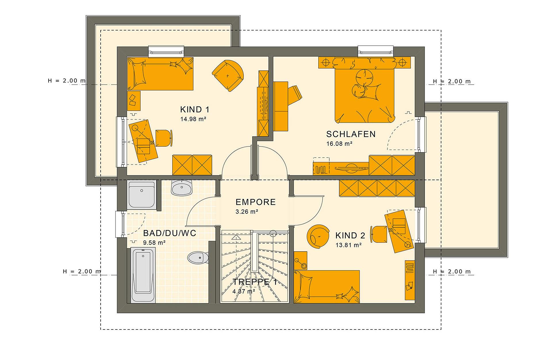 Dachgeschoss SUNSHINE 125 V5 von Living Fertighaus GmbH