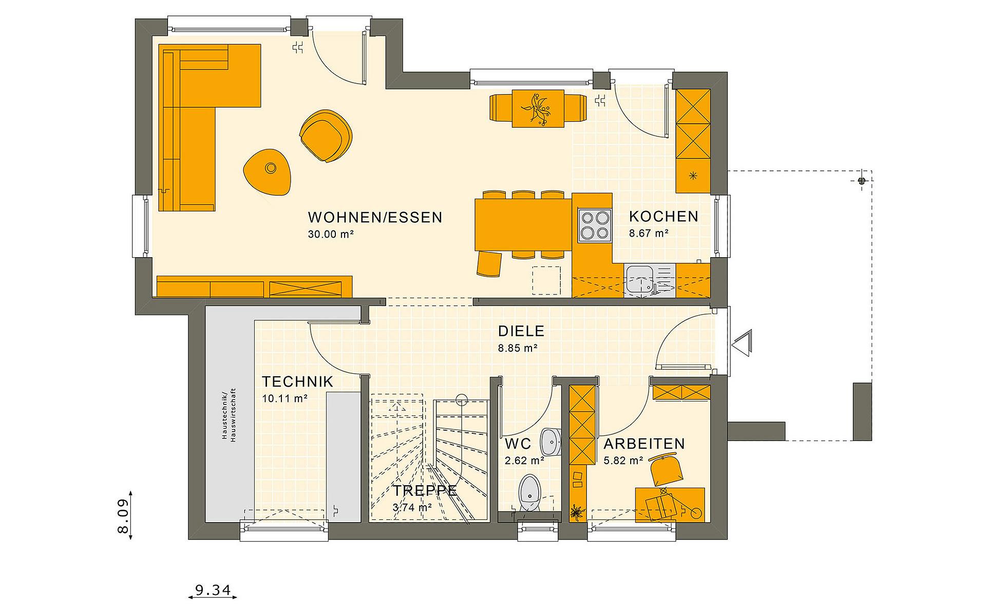 Erdgeschoss SUNSHINE 125 V5 von Living Fertighaus GmbH