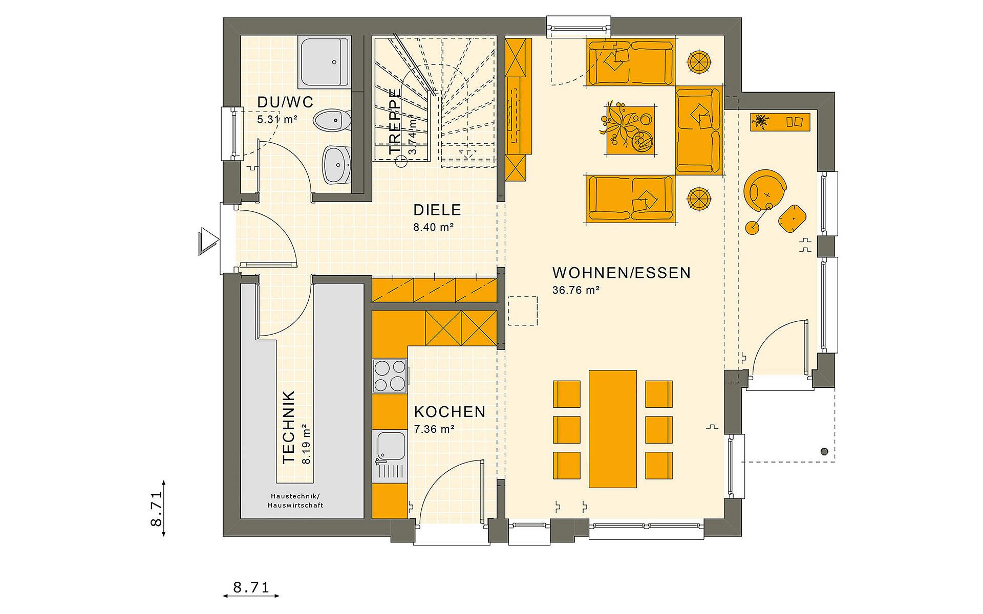 Erdgeschoss SUNSHINE 126 V5 von Living Fertighaus GmbH