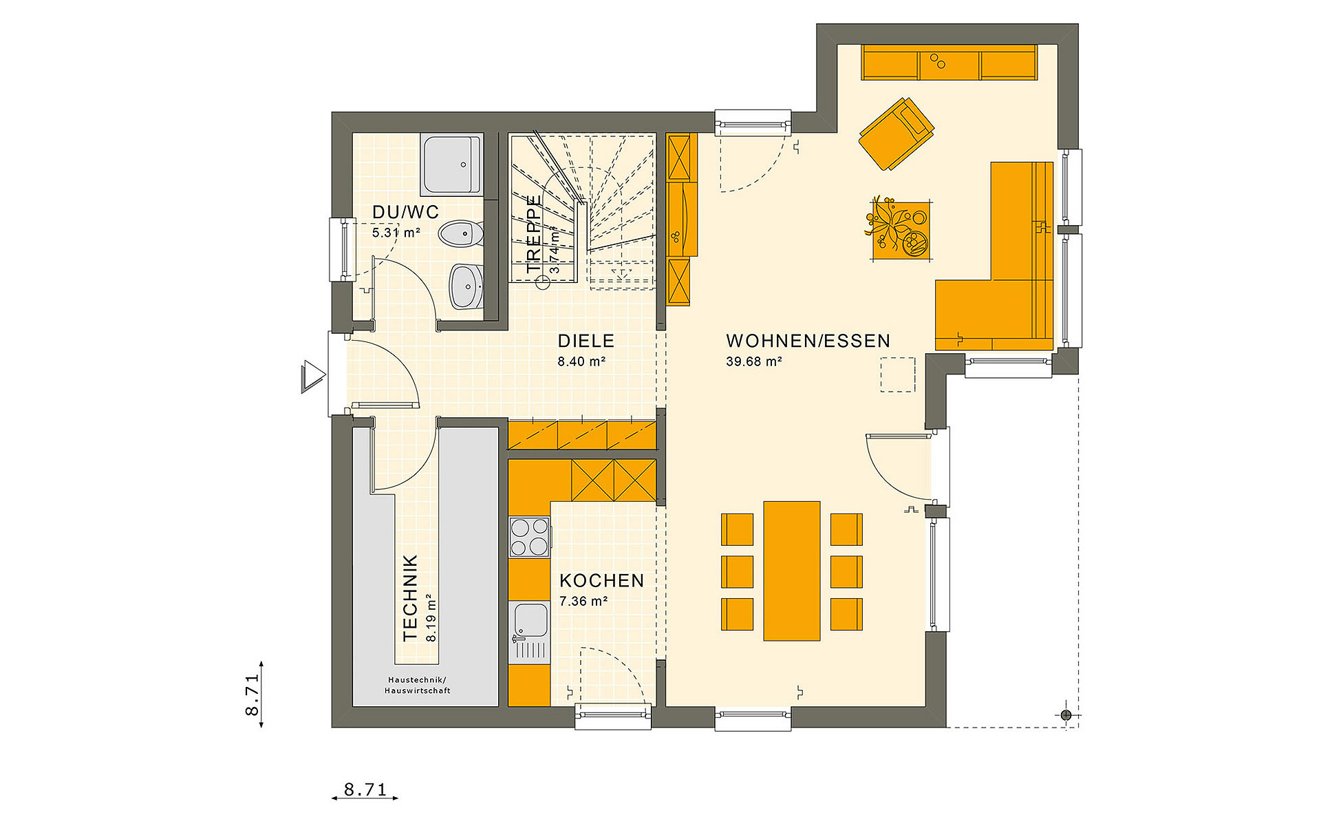 Erdgeschoss SUNSHINE 126 V7 von Living Fertighaus GmbH