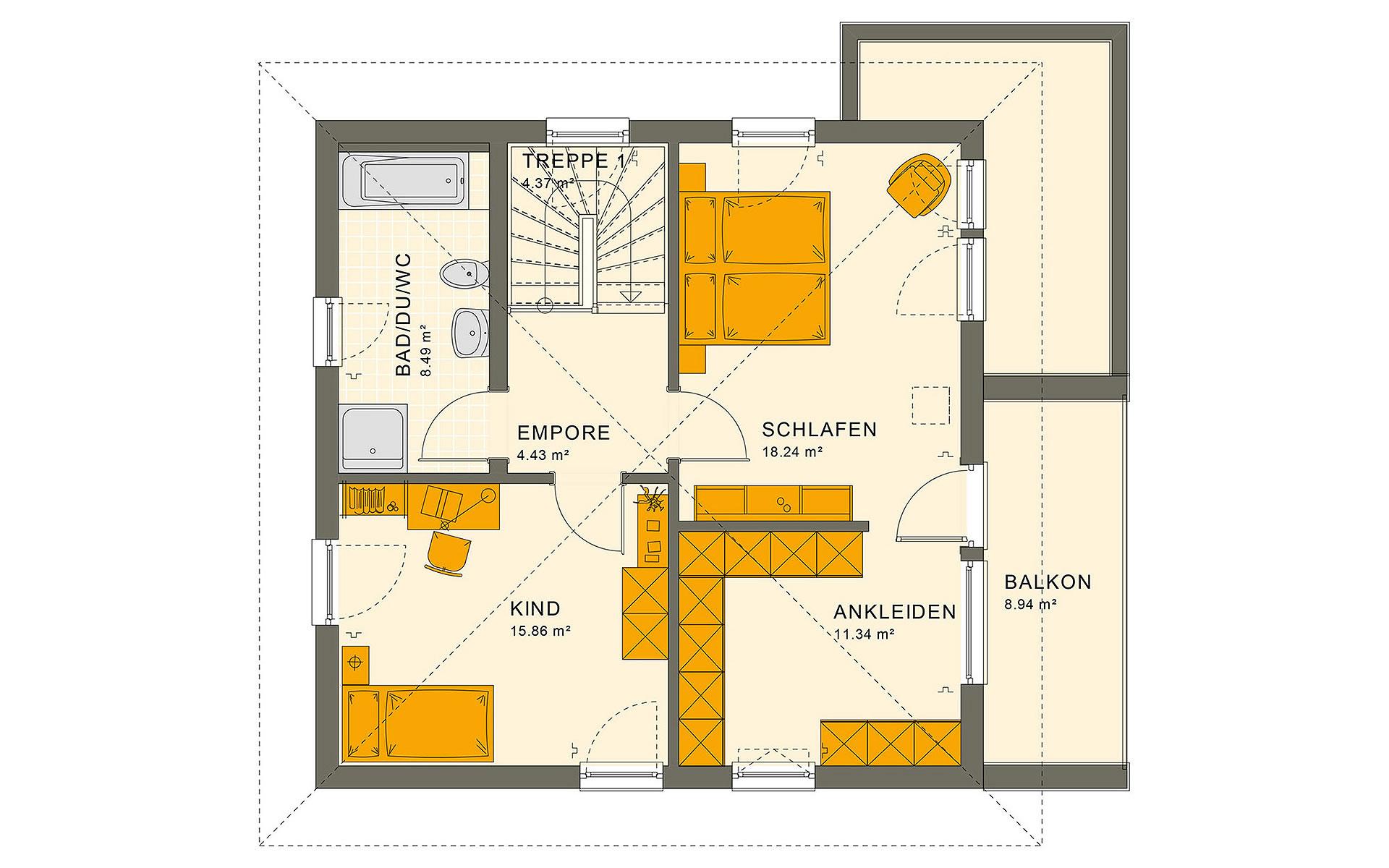 Obergeschoss SUNSHINE 126 V7 von Living Fertighaus GmbH