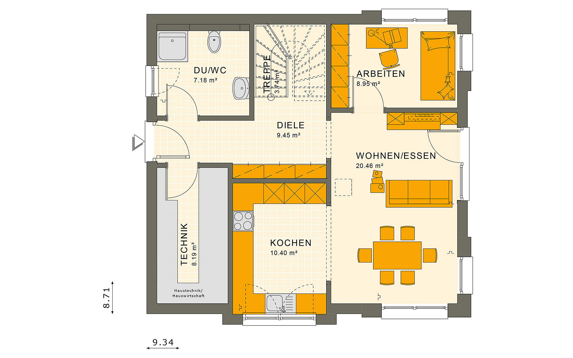 Erdgeschoss SUNSHINE 136 V4 von Living Fertighaus GmbH