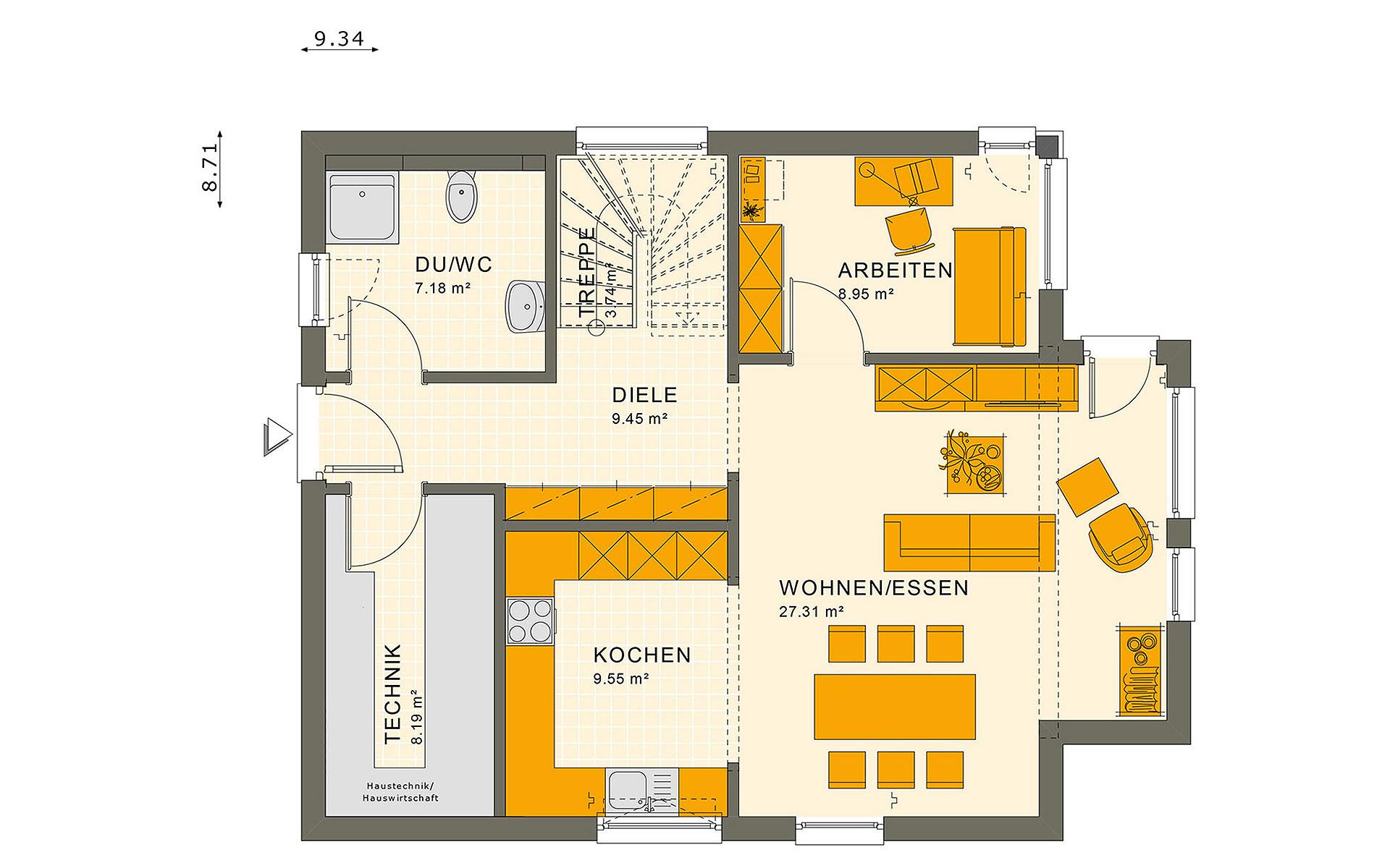 Erdgeschoss SUNSHINE 136 V7 von Living Fertighaus GmbH