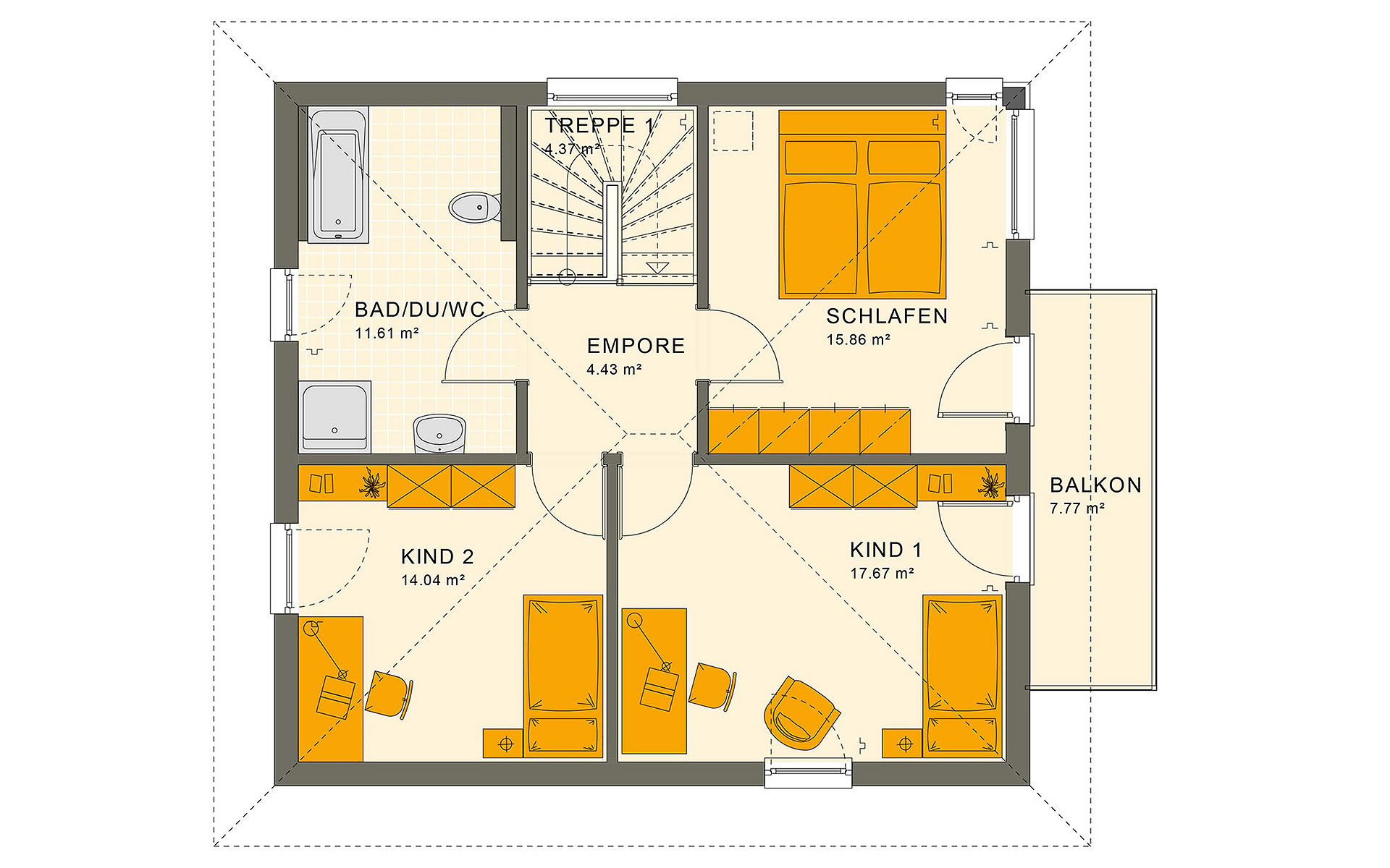 Obergeschoss SUNSHINE 136 V7 von Living Fertighaus GmbH