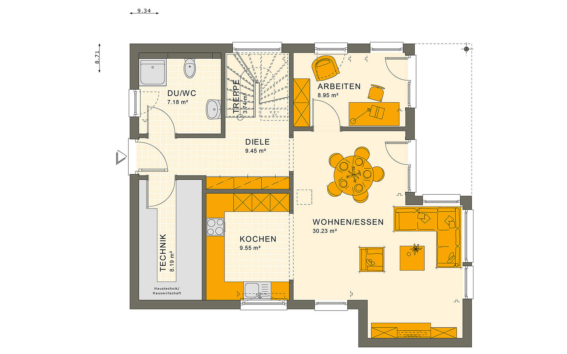Erdgeschoss SUNSHINE 136 V8 von Living Fertighaus GmbH