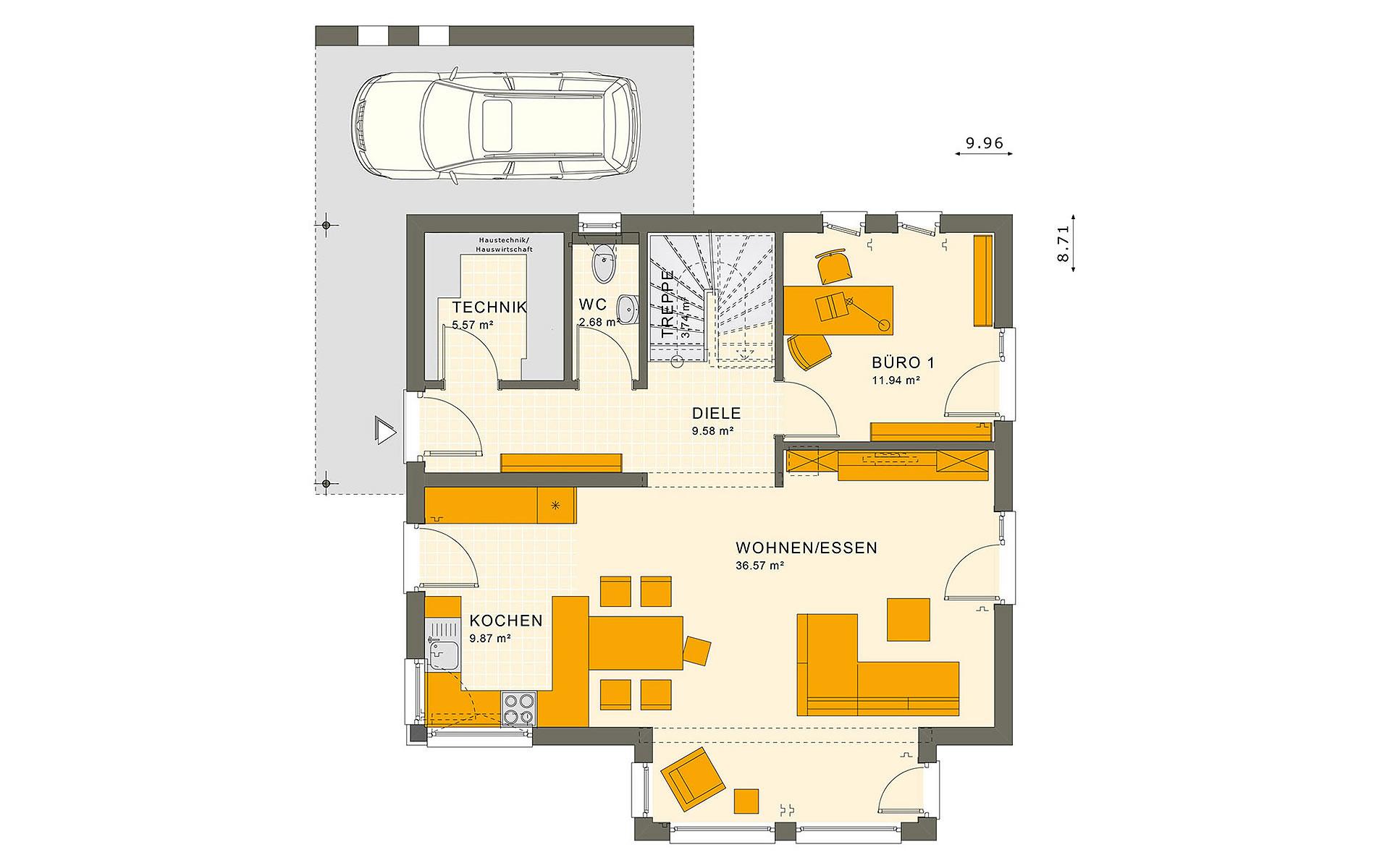 Erdgeschoss SUNSHINE 143 Mülheim-Kärlich von Living Fertighaus GmbH