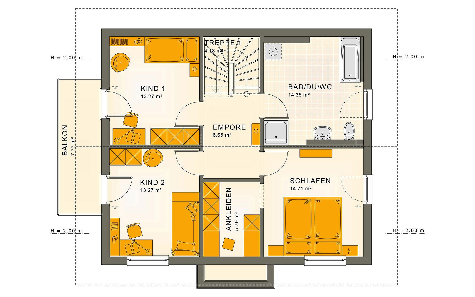 Dachgeschoss SUNSHINE 143 V4 von Living Fertighaus GmbH