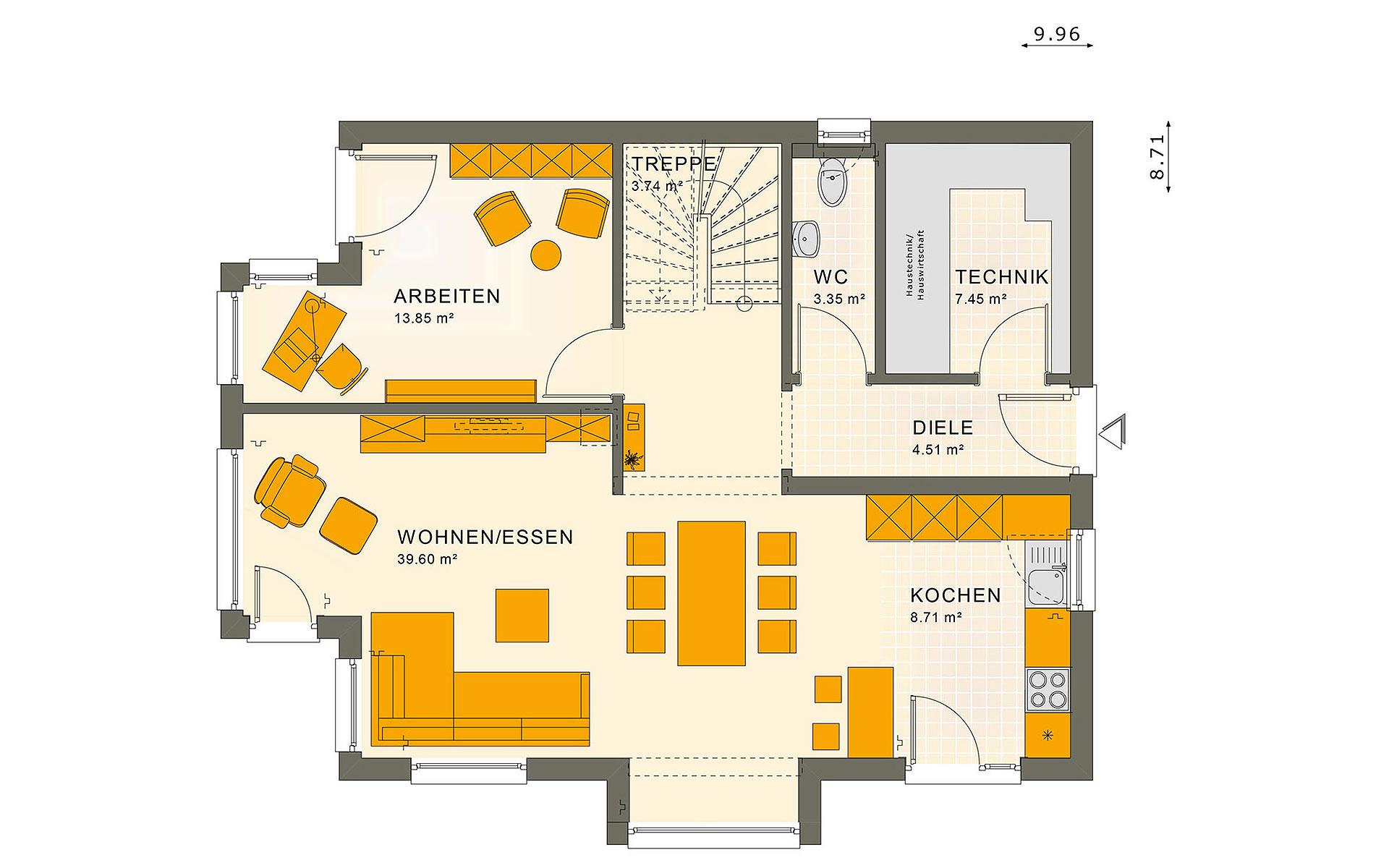 Erdgeschoss SUNSHINE 143 V4 von Living Fertighaus GmbH