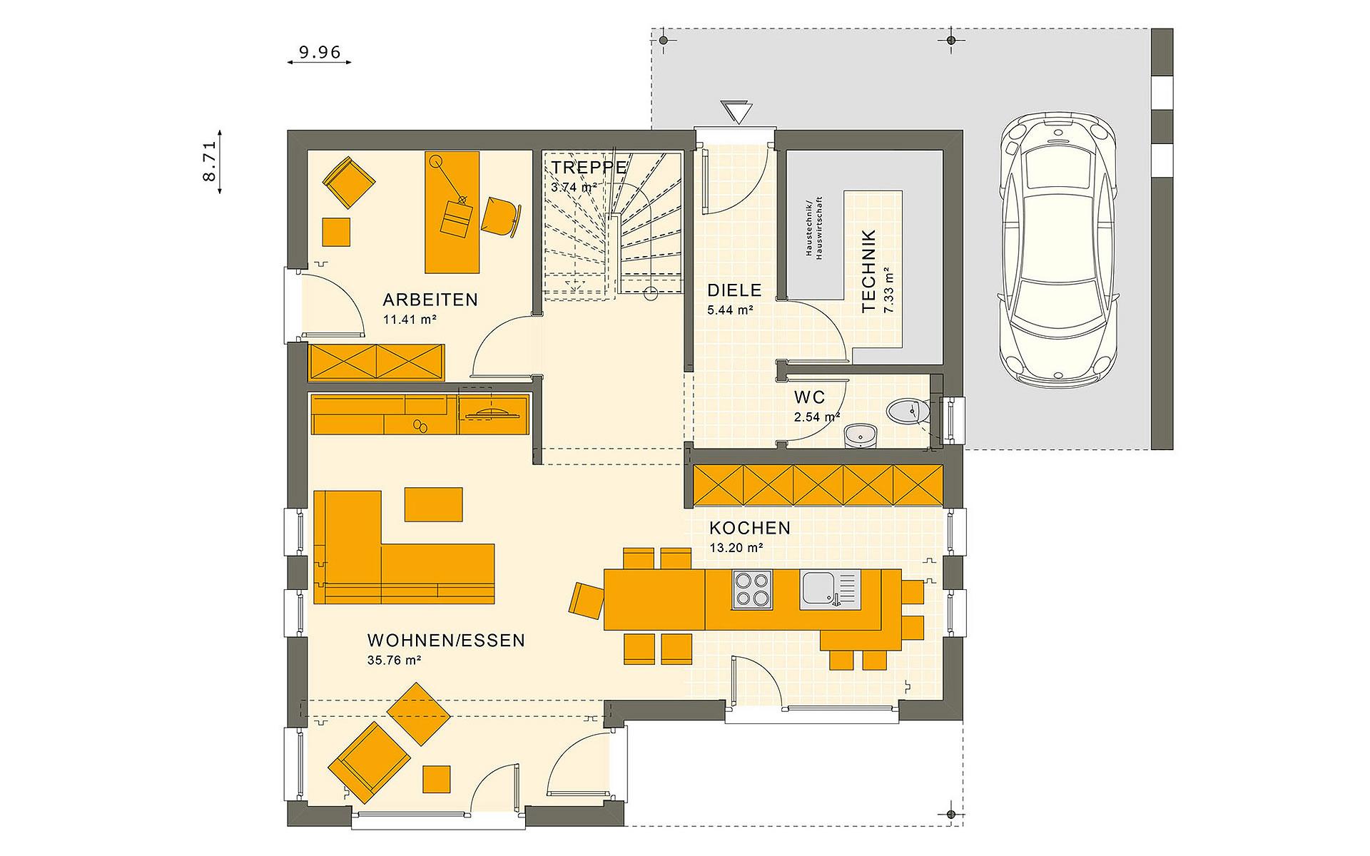 Erdgeschoss SUNSHINE 143 V7 von Living Fertighaus GmbH