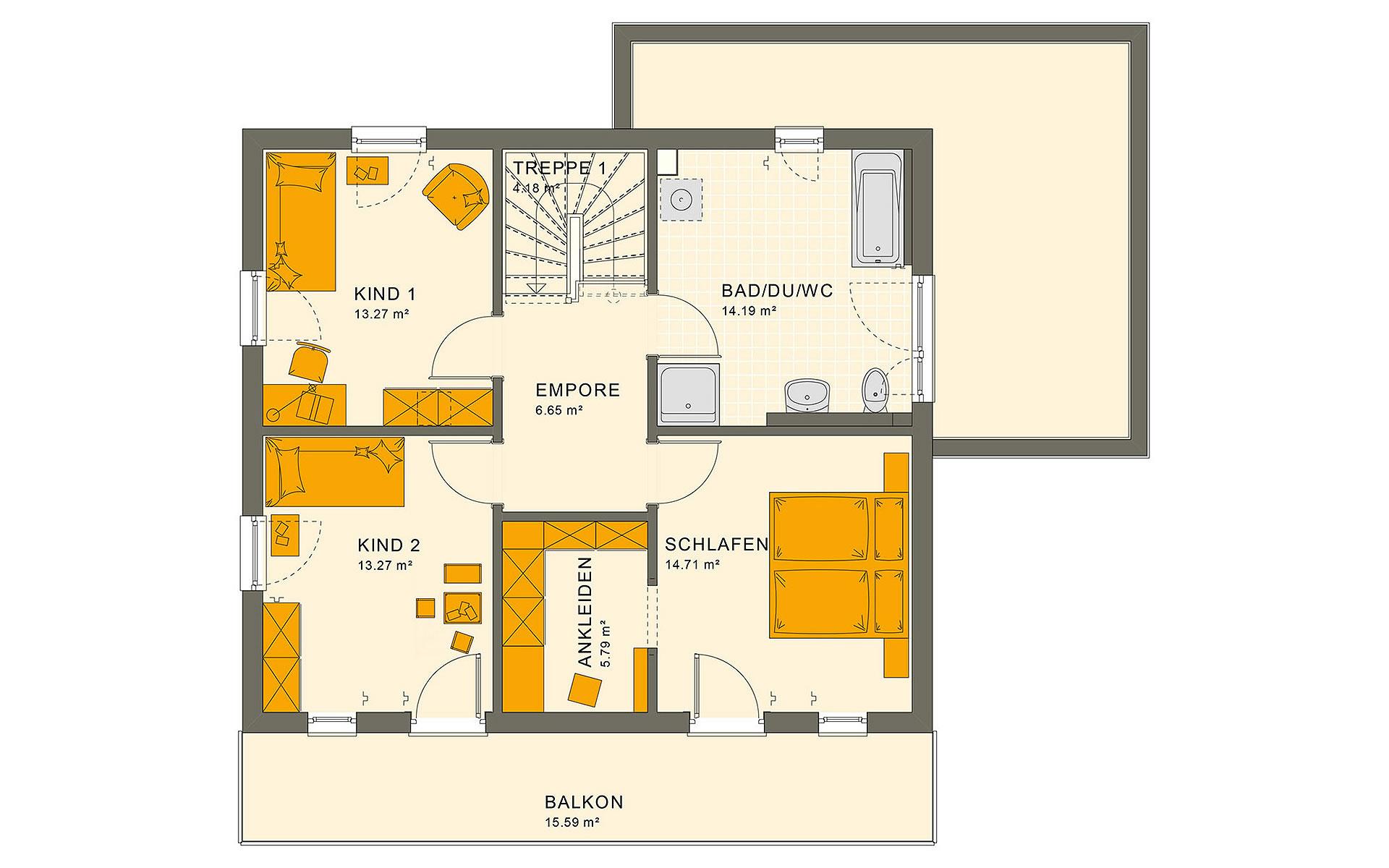 Obergeschoss SUNSHINE 143 V7 von Living Fertighaus GmbH