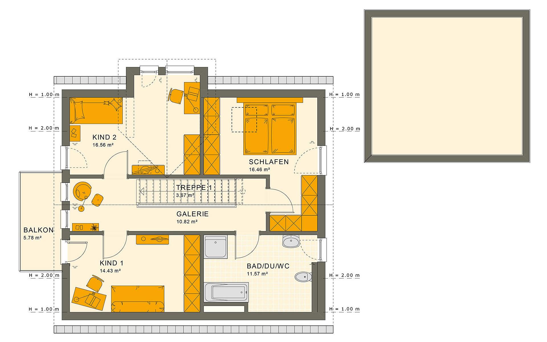 Dachgeschoss SUNSHINE 144 V3 von Living Fertighaus GmbH