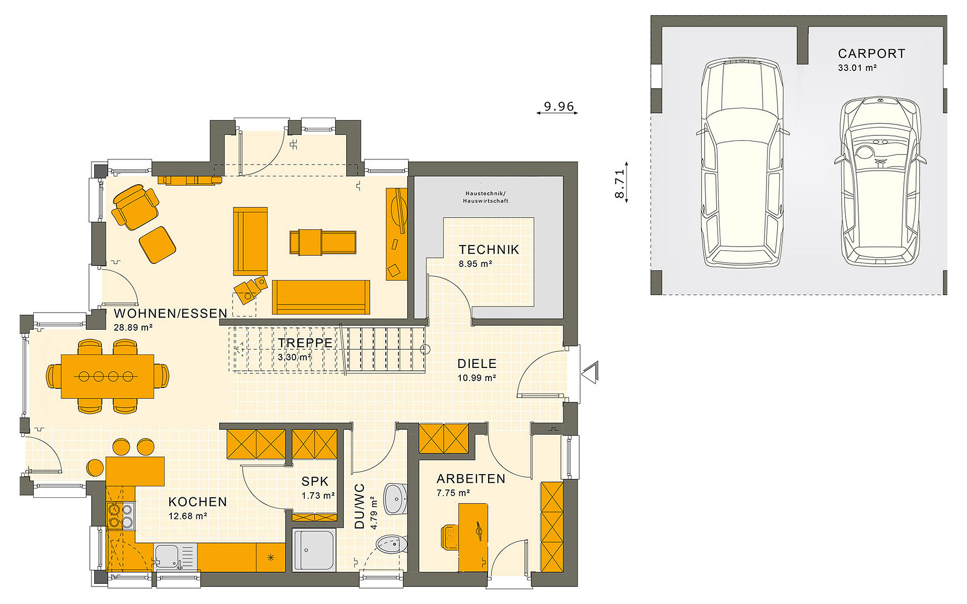 Erdgeschoss SUNSHINE 144 V3 von Living Fertighaus GmbH