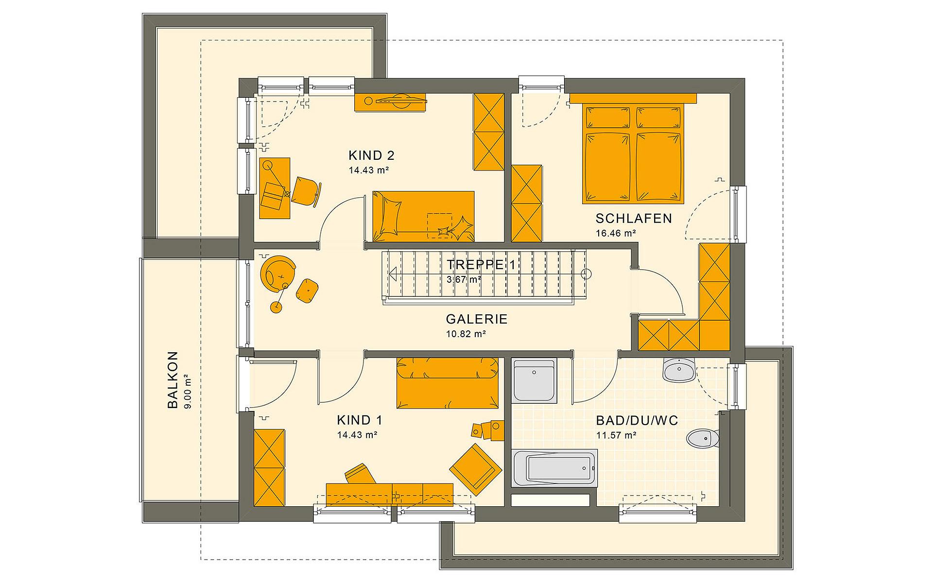 Dachgeschoss SUNSHINE 144 V6 von Living Fertighaus GmbH
