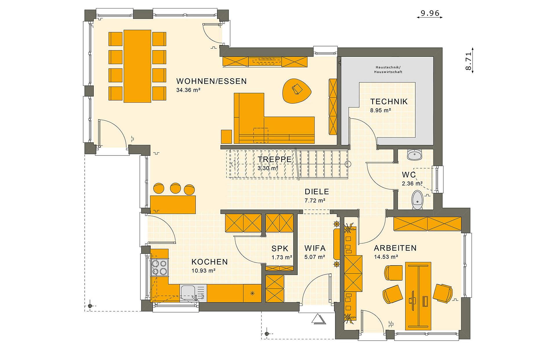 Erdgeschoss SUNSHINE 144 V6 von Living Fertighaus GmbH