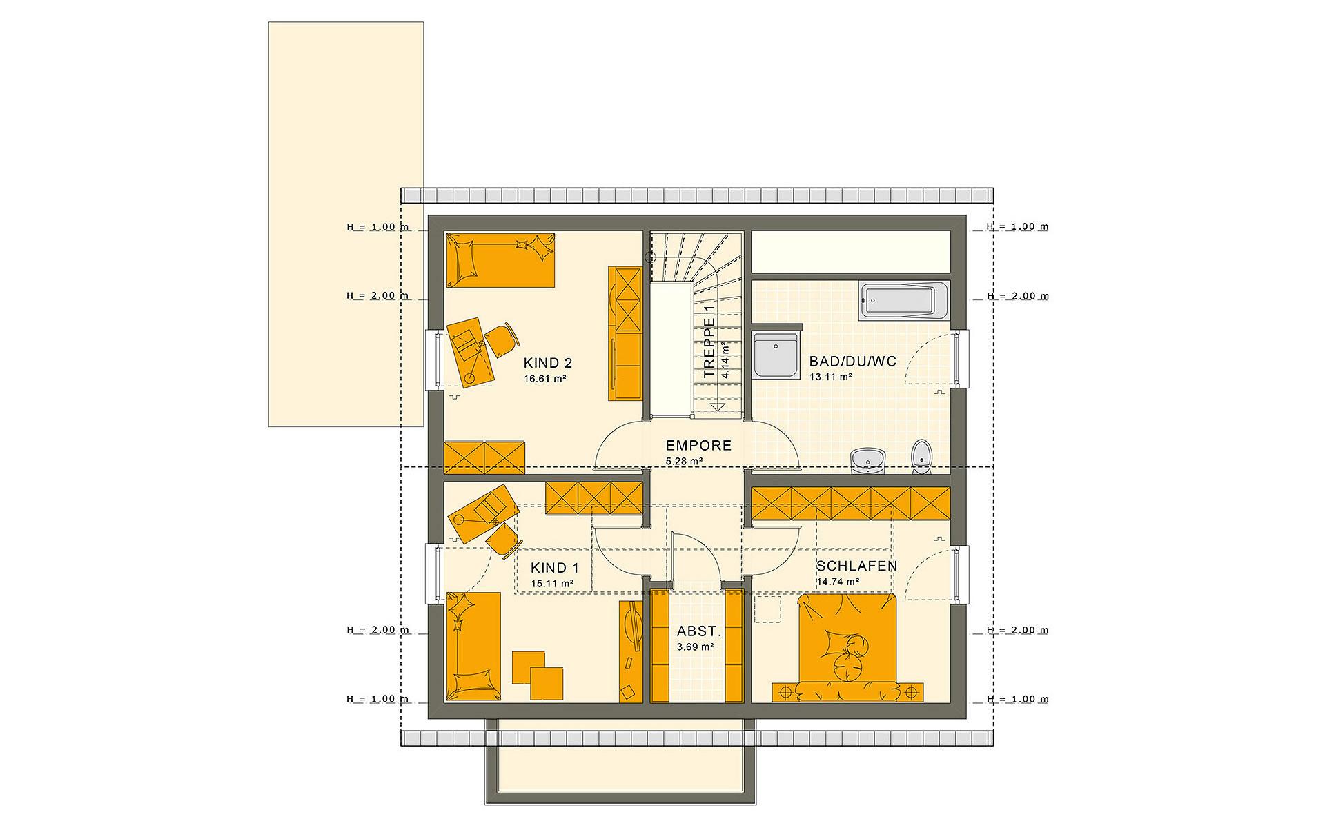 Dachgeschoss SUNSHINE 151 V2 von Living Fertighaus GmbH