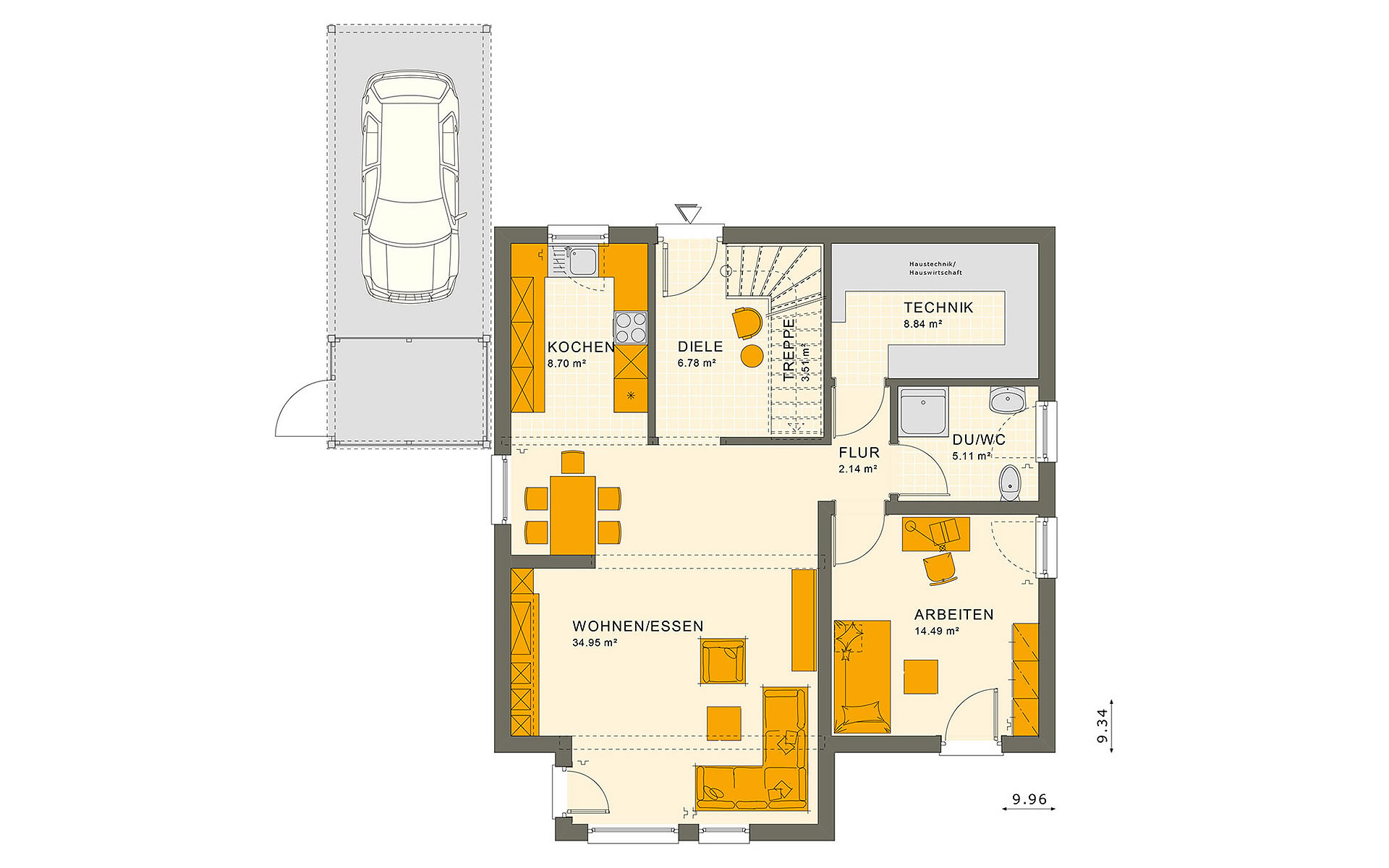 Erdgeschoss SUNSHINE 151 V2 von Living Fertighaus GmbH