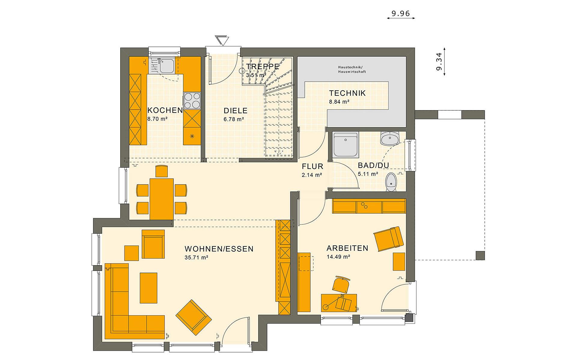 Erdgeschoss SUNSHINE 151 V7 von Living Fertighaus GmbH
