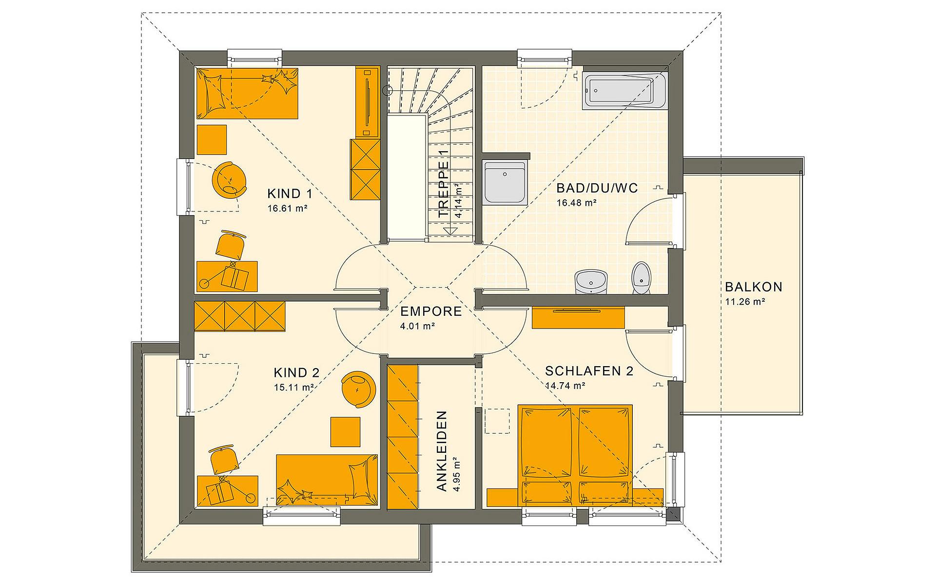 Obergeschoss SUNSHINE 151 V7 von Living Fertighaus GmbH