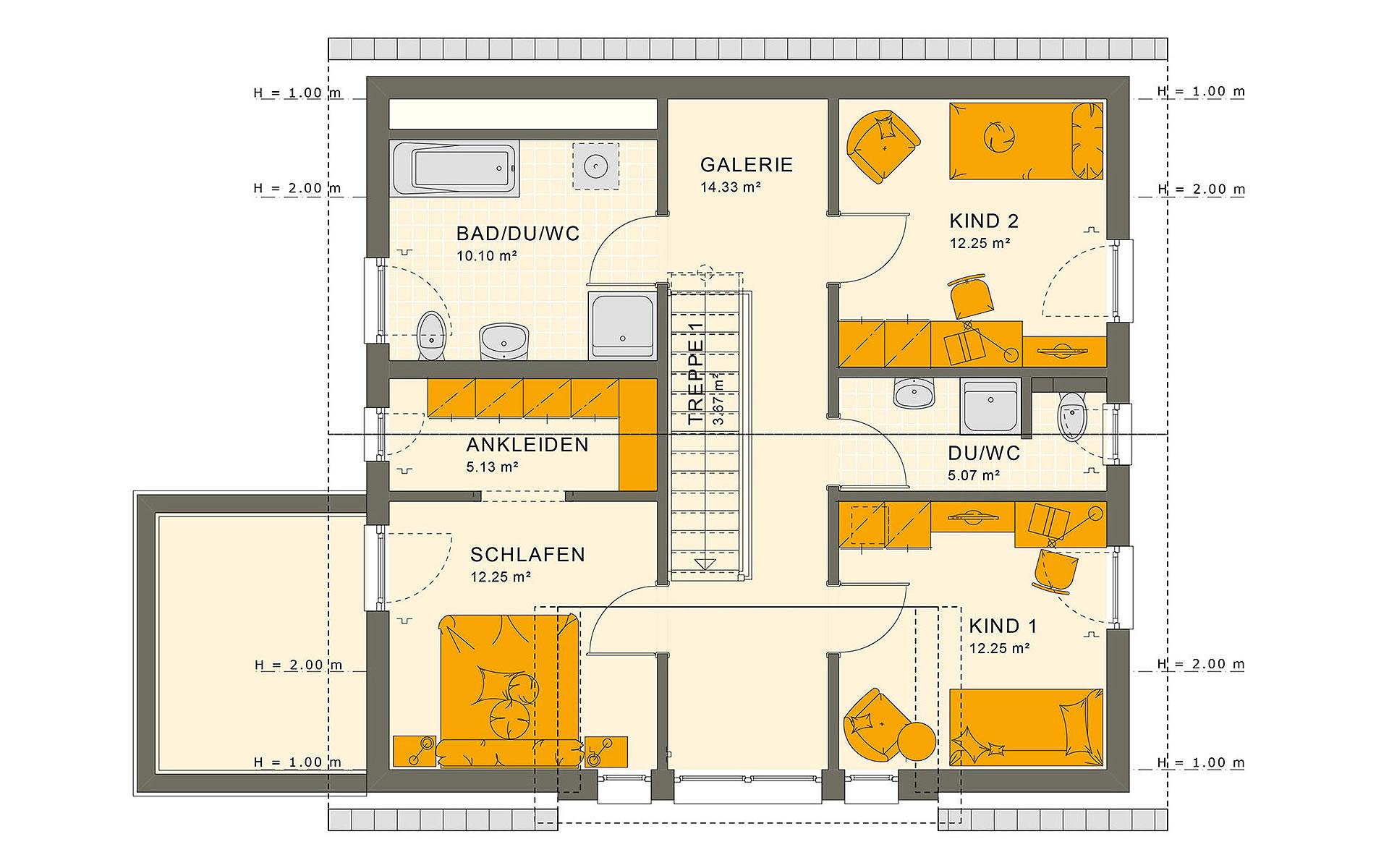 Dachgeschoss SUNSHINE 154 V2 von Living Fertighaus GmbH