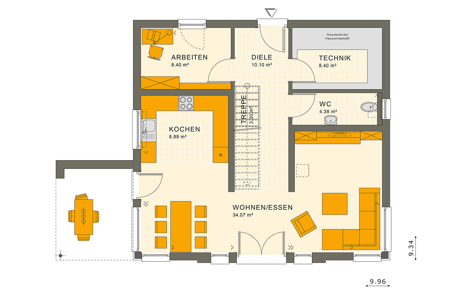 Erdgeschoss SUNSHINE 154 V2 von Living Fertighaus GmbH