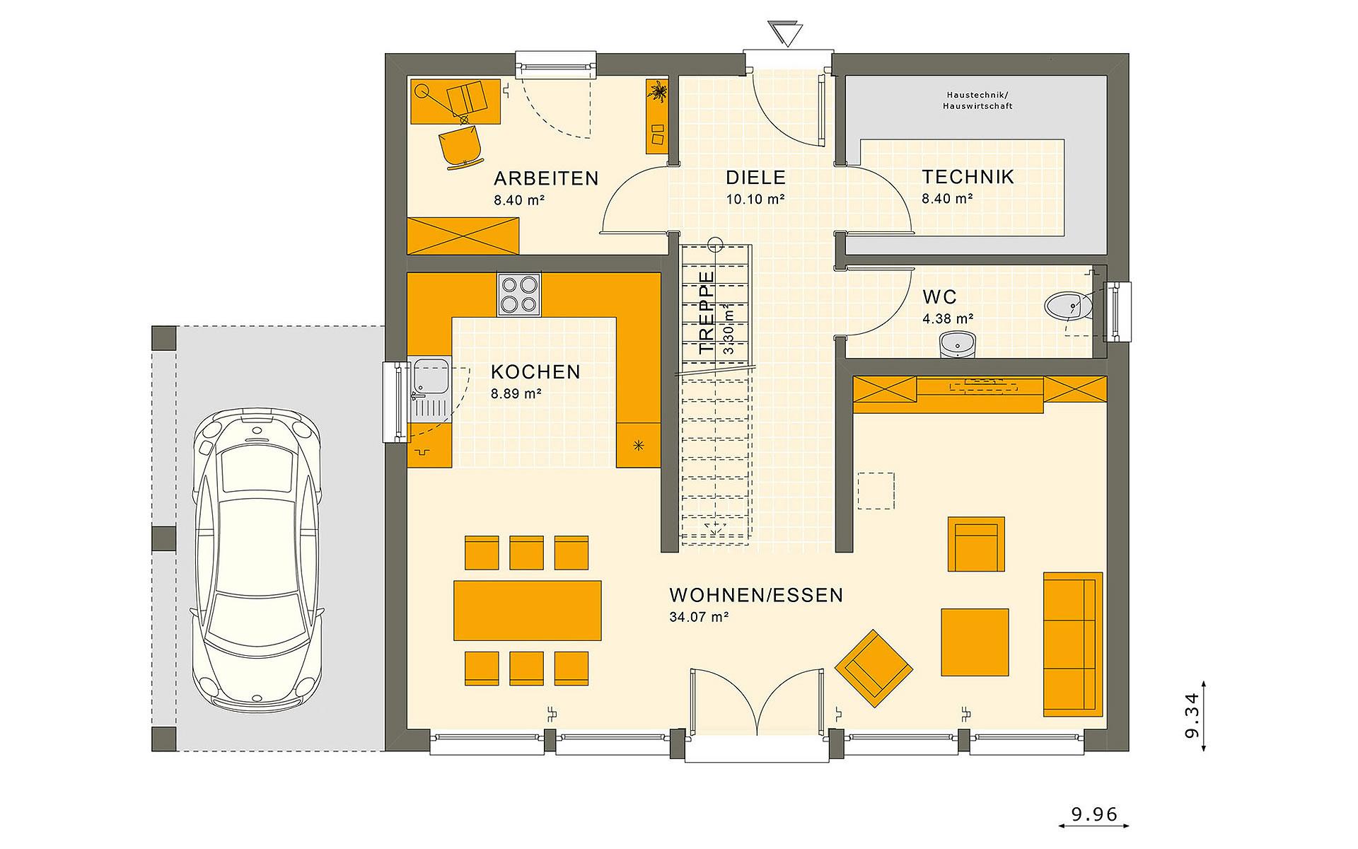 Erdgeschoss SUNSHINE 154 V7 von Living Fertighaus GmbH