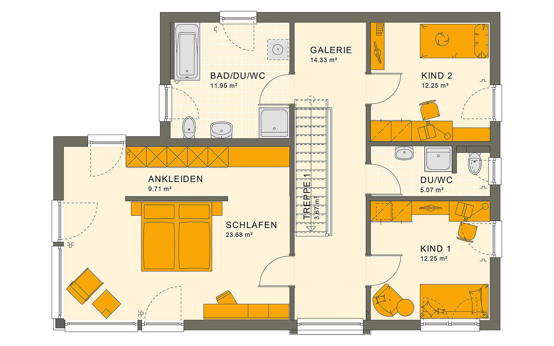 Obergeschoss SUNSHINE 154 V7 von Living Fertighaus GmbH