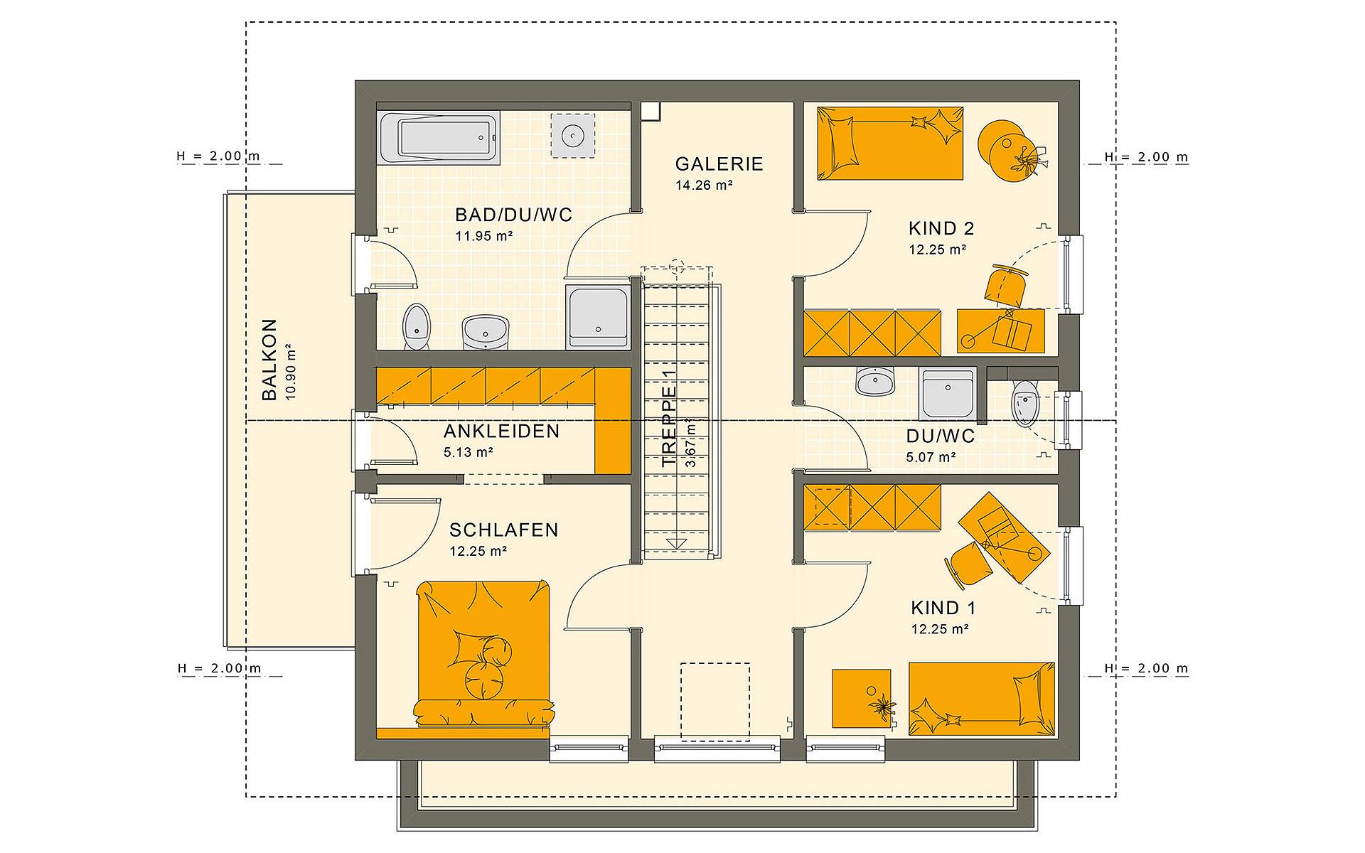 Dachgeschoss SUNSHINE 154 V4 von Living Fertighaus GmbH