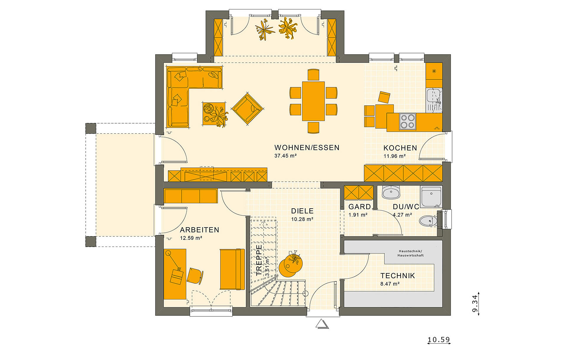 Erdgeschoss SUNSHINE 165 V5 von Living Fertighaus GmbH