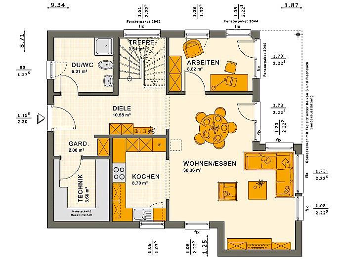 Erdgeschoss SOLUTION 134 V10 von Living Fertighaus GmbH