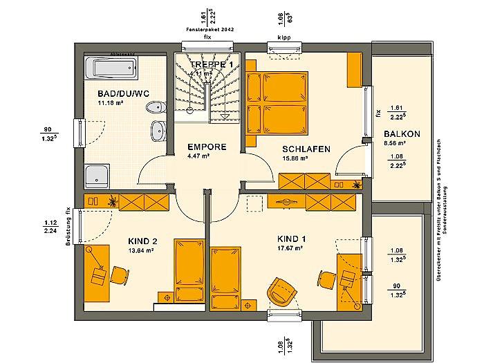 Obergeschoss SOLUTION 134 V10 von Living Fertighaus GmbH