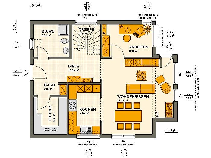 Erdgeschoss SOLUTION 134 V9 von Living Fertighaus GmbH