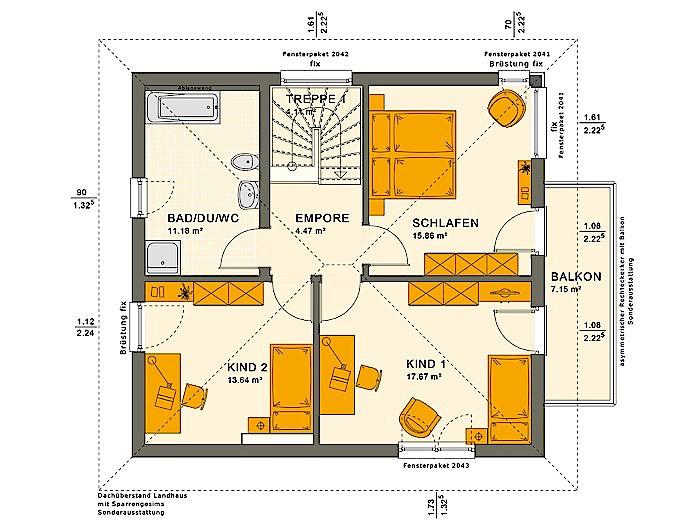 Obergeschoss SOLUTION 134 V9 von Living Fertighaus GmbH