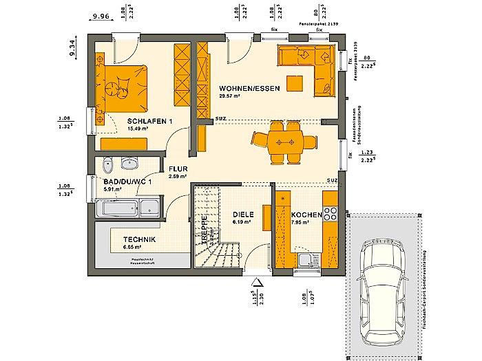 Erdgeschoss SOLUTION 151 V3 von Living Fertighaus GmbH