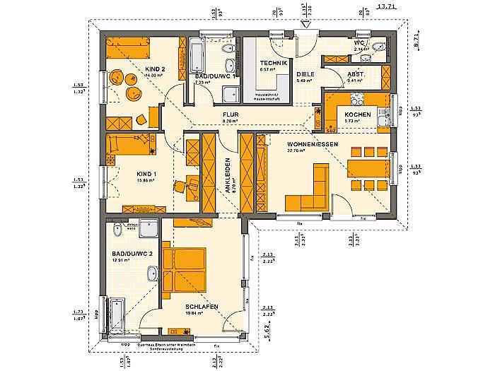 Erdgeschoss SOLUTION 100 V3  von Living Fertighaus GmbH