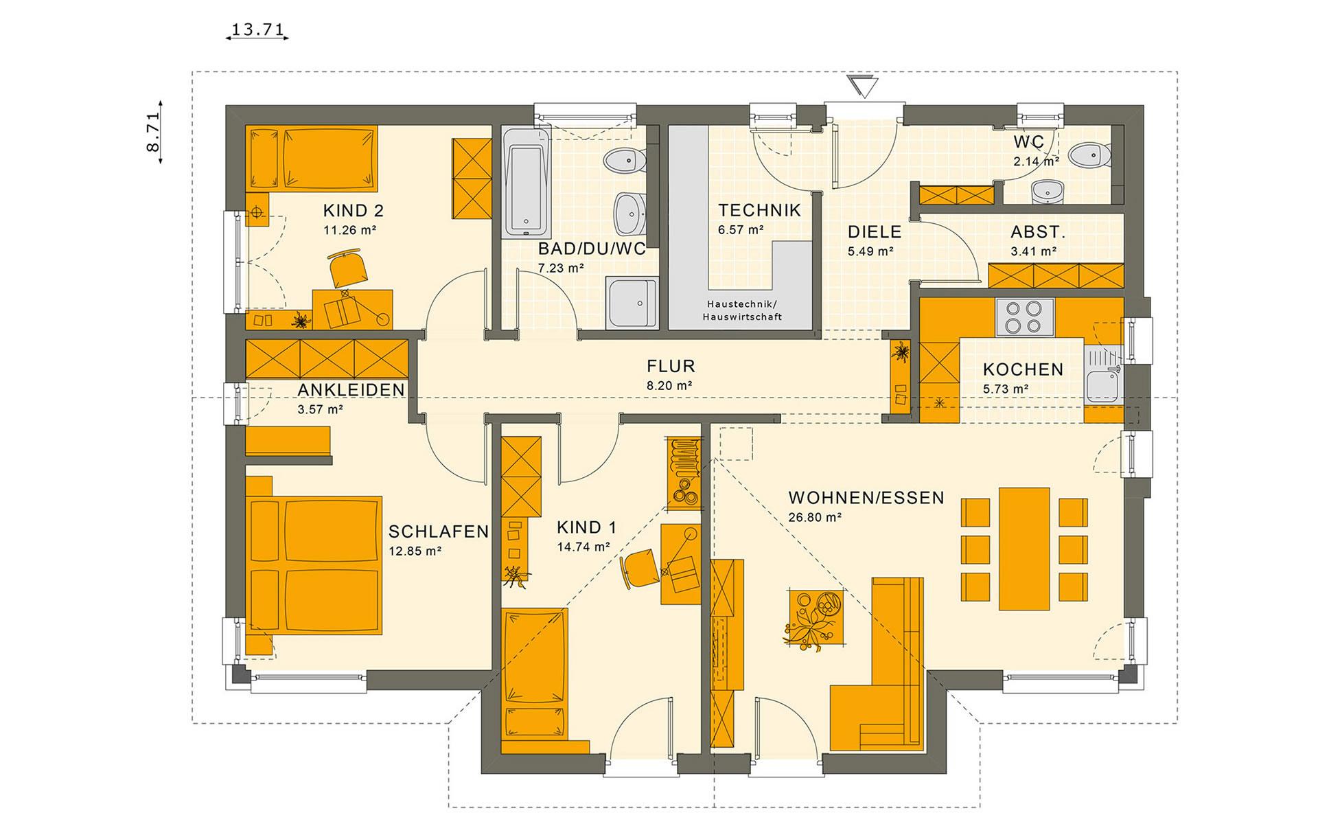Erdgeschoss SOLUTION 100 V5 von Living Fertighaus GmbH