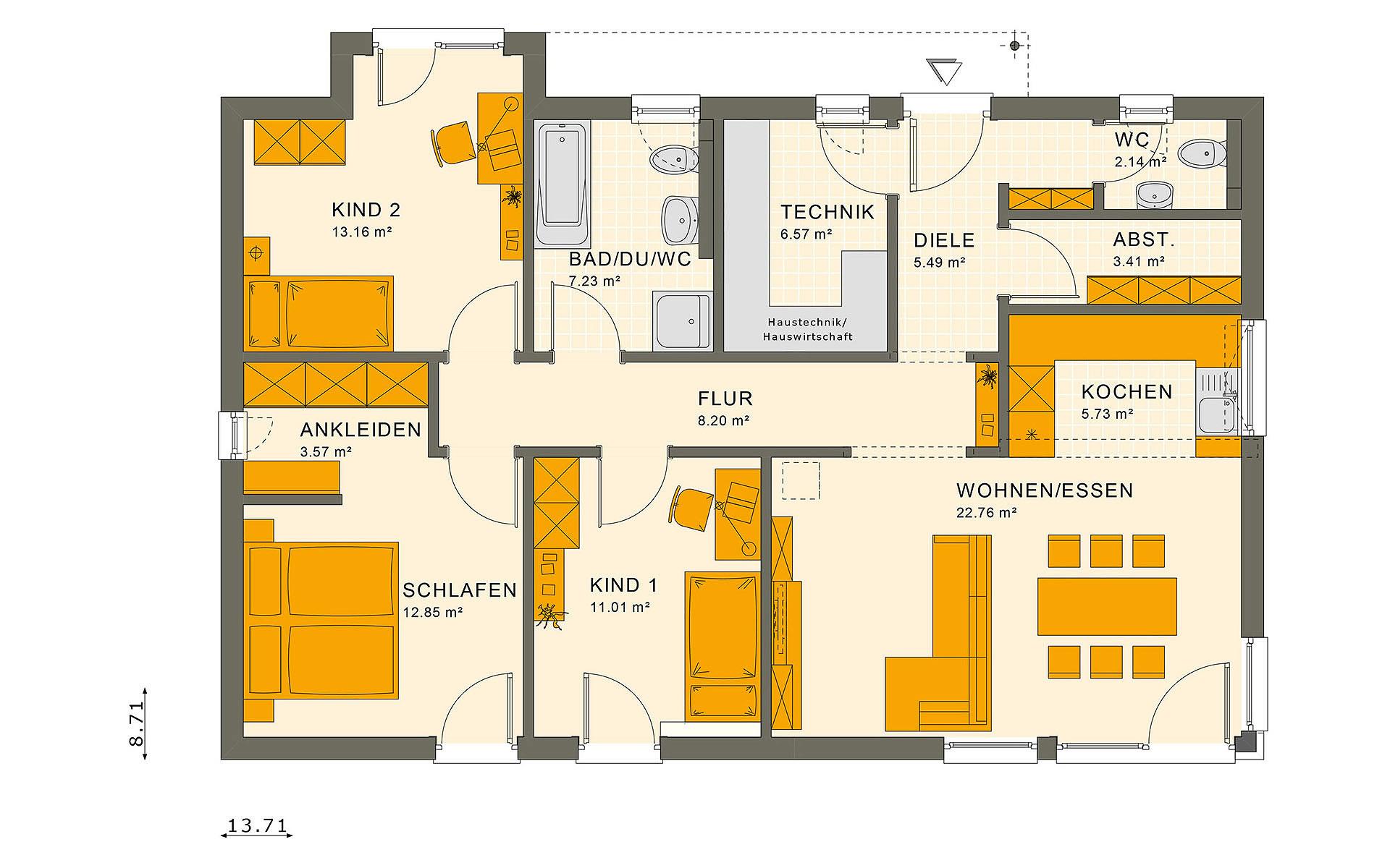 Erdgeschoss SOLUTION 100 V7 von Living Fertighaus GmbH