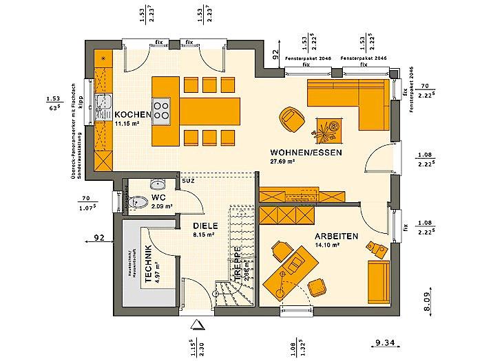 Erdgeschoss SOLUTION 124 V10 von Living Fertighaus GmbH
