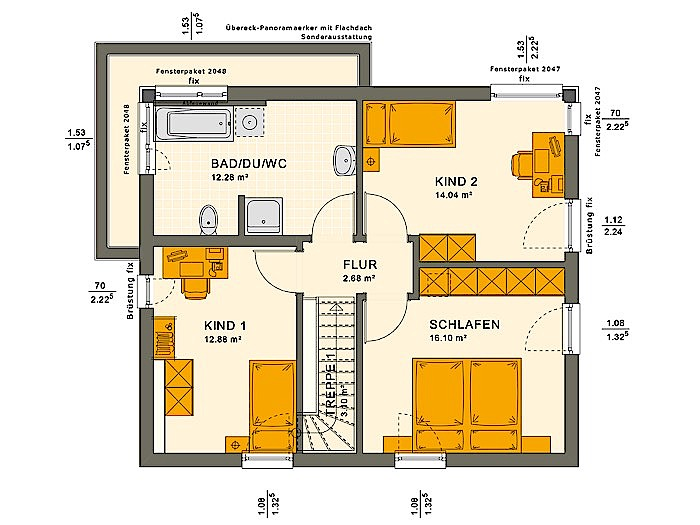 Obergeschoss SOLUTION 124 V10 von Living Fertighaus GmbH