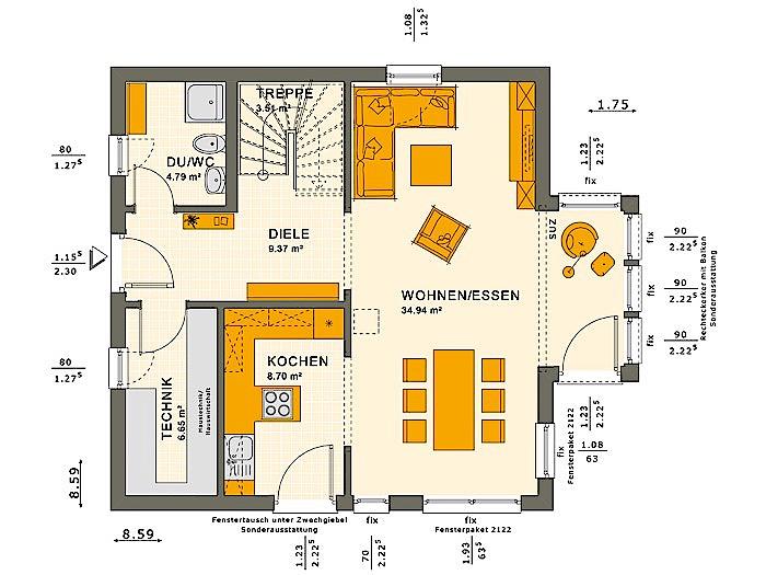 Erdgeschoss SOLUTION 125 V4 von Living Fertighaus GmbH
