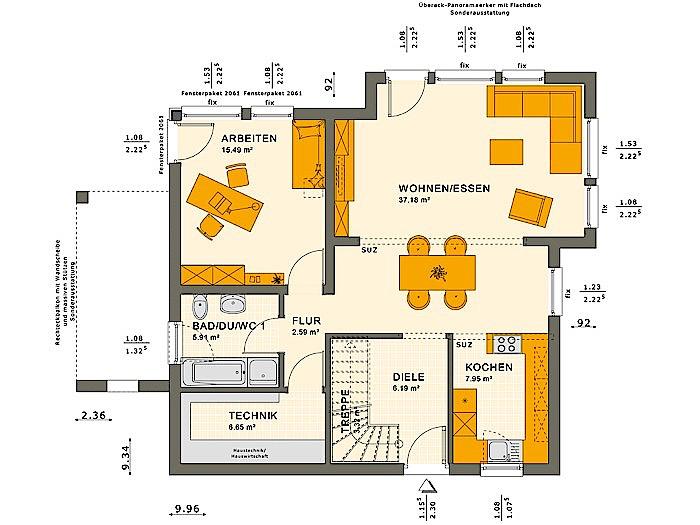 Erdgeschoss SOLUTION 151 V9 von Living Fertighaus GmbH