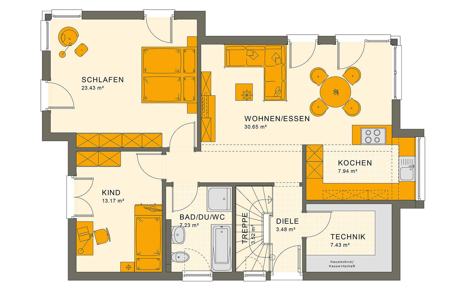 Erdgeschoss SOLUTION 87 V7 von Living Fertighaus GmbH